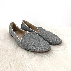 Donald J. Pliner Silver Sparkle Denda Loafer Flats